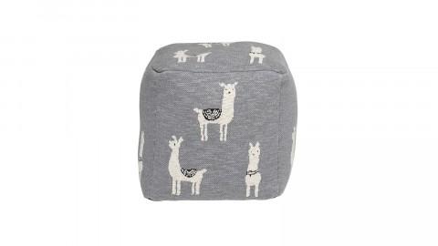 Pouf carré en coton imprimé lama - Bloomingville
