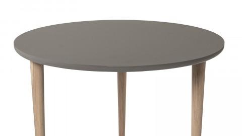 Table basse Noa anti-rayures Ø59 cm en contre-plaqué brun et pieds en chêne clairs