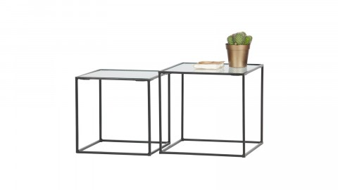 Lot de 2 tables gigognes en métal et verre - Collection Miles - Woood