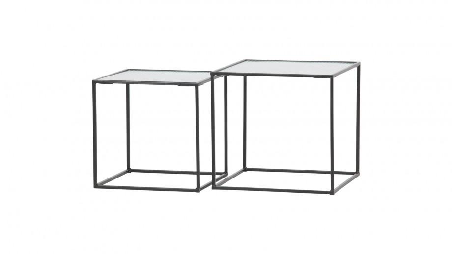 Lot de 2 tables gigognes en métal et verre - Collection Miles - Woood