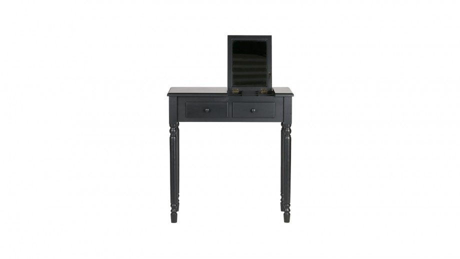 Coiffeuse en bois noir 2 tiroirs 1 miroir - Collection Romy - Woood
