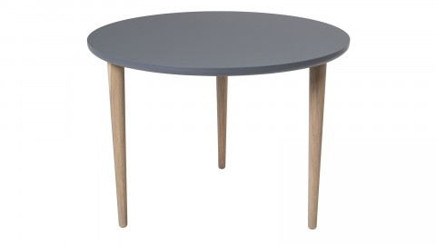Table basse Noa anti-rayures Ø59 cm en contre-plaqué gris anthracite et pieds en chêne clairs