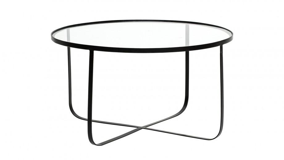 Table basse Harper Ø80 cm en fer noir et plateau en verre