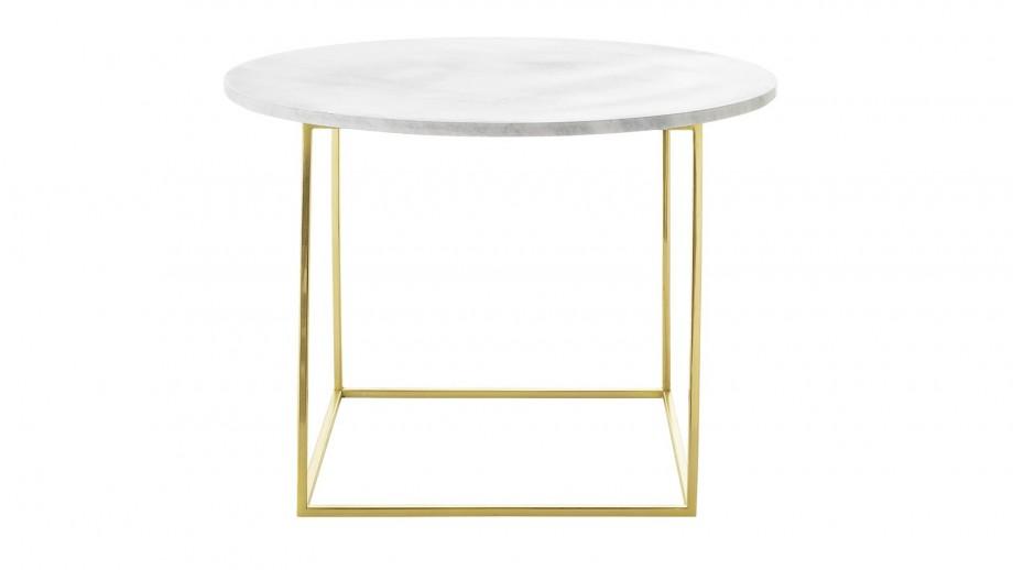 Table basse Eva Ø60 cm avec plateau en marbre blanc et pieds en fer dorés