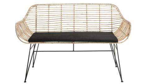 Canapé 2 places bas en rotin piètement métal noir - Collection Camille