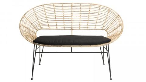 Canapé 2 places ovale en rotin piètement métal noir - Collection Camille