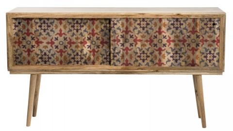 Console en manguier 2 portes coulissantes 1 étagère bhoutan - Collection Indra