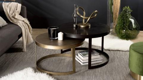 Lot de 2 tables gigognes rondes doré et noir - Collection Johan