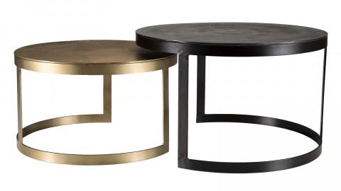 Lot de 2 tables gigognes rondes doré et noir - Johan