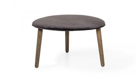 Lot de 2 Tabourets Ø70 cm avec assise en polyester gris anthracite et pieds en chêne foncé - Bloomingville - Collection Fred