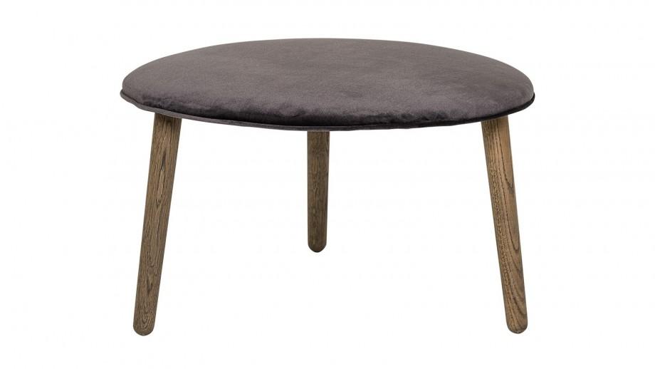 Lot de 2 Tabourets Fred Ø70 cm avec assise en polyester gris anthracite et pieds en chêne foncé
