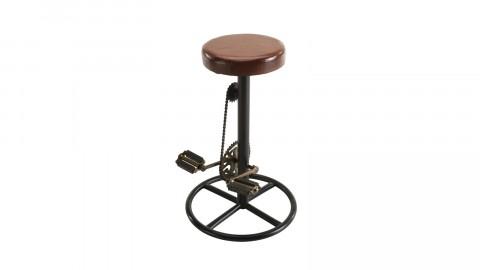 Tabouret de bar industriel en cuir piètement en métal déco pédales de vélo - Collection Romain