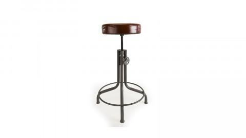 Tabouret industriel en cuir piètement métal hauteur ajustable - Collection Romain