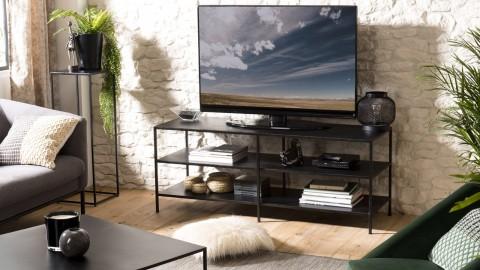 Meuble TV industriel 2 étagères en métal noir - Collection Romain