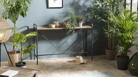 Console en pin marqueté piètement en métal noir - Collection Helena