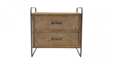 Chevet 2 tiroirs en pin marqueté piètement en métal noir - Collection Helena