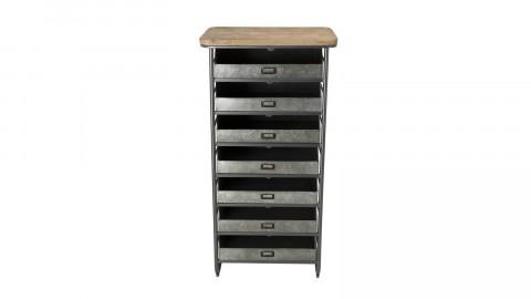 Chiffonnier 7 tiroirs en pin marqueté, zinc et métal - Collection Helena