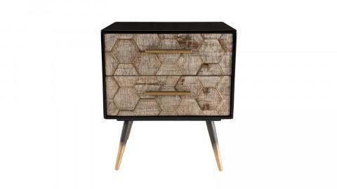 Chevet scandinave 2 tiroirs en pin marqueté piètement métal - Dorrie