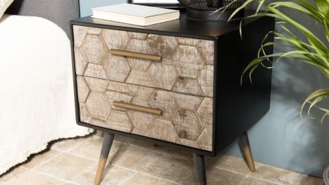 Chevet scandinave 2 tiroirs en pin marqueté piètement métal - Collection Dorrie