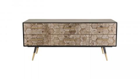 Meuble TV 6 tiroirs scandinave en pin marqueté piètement métal - Collection Dorrie