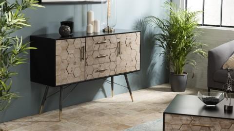 Buffet scandinave 2 portes 3 tiroirs en pin marqueté piètement métal - Collection Dorrie