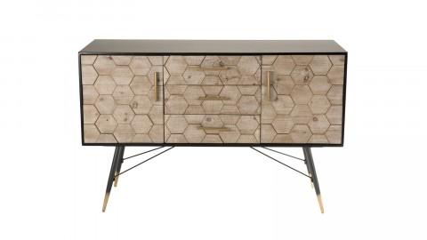 Buffet scandinave 2 portes 3 tiroirs en pin marqueté piètement métal - Dorrie