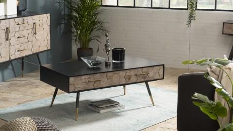 Table basse scandinave 2 tiroirs en pin marqueté piètement métal - Collection Dorrie
