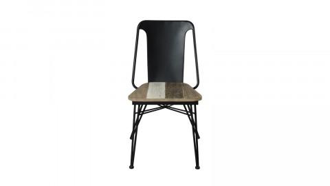 Lot de 2 chaises en métal noir assise en acacia - Collection Carmen