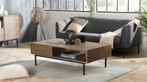 Table basse 2 tiroirs 2 niches en acacia piètement métal - Collection Arturo