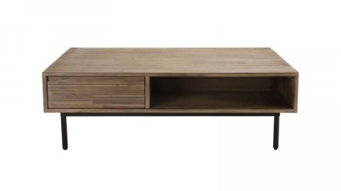 Table basse 2 tiroirs 2 niches en acacia piètement métal - Arturo