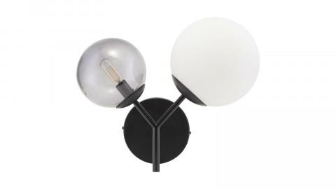 Applique murale 2 boules en verre blanc et gris structure en métal noir - Collection Twice - House Doctor