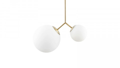 Suspension 2 boules en verre blanc et laiton doré - Collection Twice - House Doctor