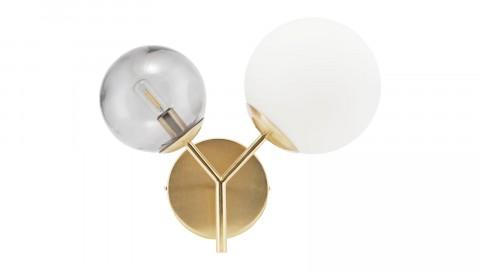 Applique murale 2 boules en verre blanc et gris structure en laiton - Collection Twice - House Doctor