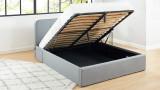 Lit coffre 140x190cm gris clair avec tête de lit + sommier à lattes - Le Chouette Matelas