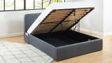 Lit coffre 160x200cm gris anthracite avec tête de lit + sommier à lattes - Le Chouette Matelas