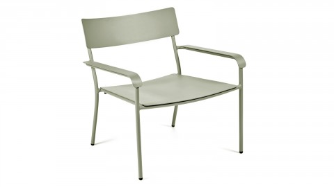 Lot de 2 fauteuils avec accoudoirs en aluminium vert - Collection August