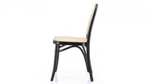 Lot de 2 chaises en bouleau noir assise en bambou -- Collection Pointe