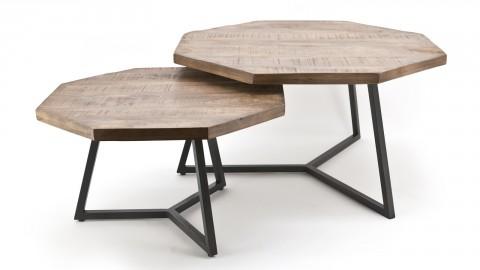 Lot de 2 tables gigognes octogonales en manguier piètement métal - Collection Octagon