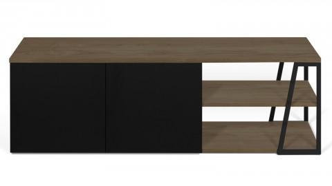 Meuble TV 2 niches 2 portes en bois noisette et noir - Collection Albi - Temahome