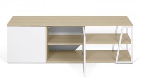 Meuble TV 2 niches 2 portes en bois clair et blanc - Collection Albi - Temahome