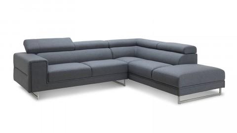 Canapé d'angle droit 5 places en tissu gris avec repose tête, piètement en acier - Collection Borlänge