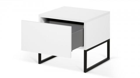 Chevet 1 tiroir en contreplaqué blanc piètement noir - Collection Mara - Temahome