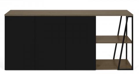 Meuble de rangement 3 portes 2 niches en contreplaqué noisetier - Collection Albi - Temahome