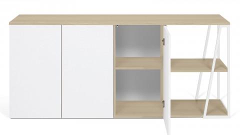 Meuble de rangement 3 portes 2 niches en contreplaqué chêne et blanc - Collection Albi - Temahome