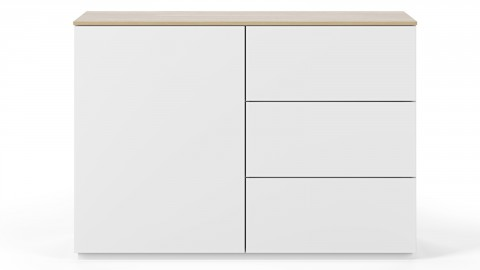Commode 1 porte 3 tiroirs en contreplaqué chêne et blanc - Collection Join - Temahome
