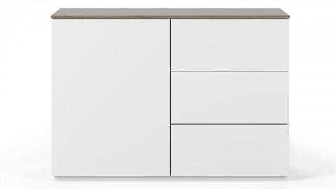 Commode 1 porte 3 tiroirs en contreplaqué noisetier et blanc - Collection Join - Temahome