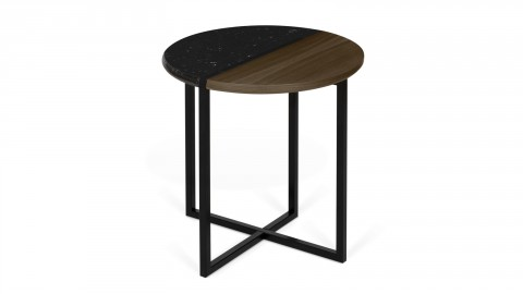 Table d'appoint bi-matière bois et marbre noir Ø50cm - Collection Sonata - Temahome