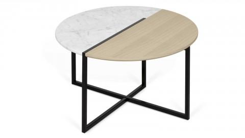 Table d'appoint bi-matière bois et marbre blanc Ø80cm - Collection Sonata - Temahome