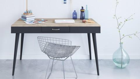 Bureau scandinave 1 tiroir en contreplaqué chêne et noir - Collection Horizon - Temahome