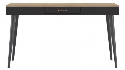 Bureau scandinave 1 tiroir en contreplaqué chêne et noir - Collection Horizon - Temahome France